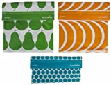 LunchSkins Reusable Sandwich and Snack Bags Set - 3 Pack - Green Pear, Mango Slices, Aqua Dots