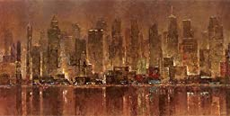 48W x 24H City Lights by Michael Longo - Stretched Canvas w/ BRUSHSTROKES