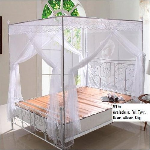 white lace luxury 4 post bed canopy mosquito net set frame full discount sakollos. Black Bedroom Furniture Sets. Home Design Ideas