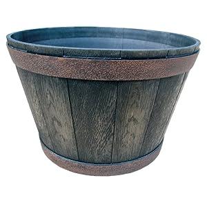 Garden Odyssey 16-Inch Whiskey Barrel Planter, Worn Iron (Discontinued by Manufacturer)