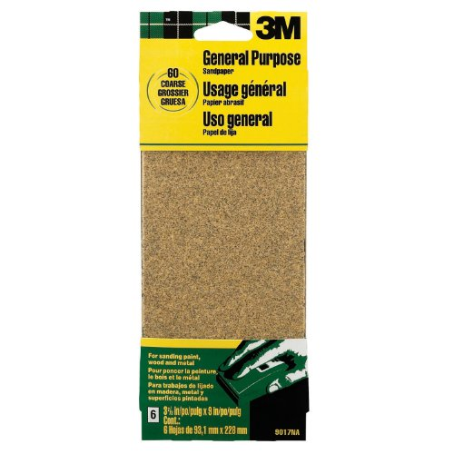 3M 9017 General Purpose Sandpaper Sheets, 3-2/3-Inch by 9-Inch, Coarse Grit