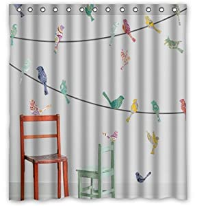 Birds On A Wire Shower Curtain 66 X 72 Waterproof Material Peva