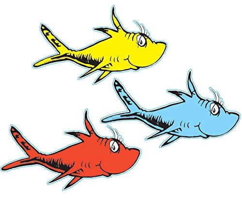 Eureka Dr. Seuss One Fish, Two Fish Assorted 5-Inch Paper Cut-Outs, Package of 36 (841218)