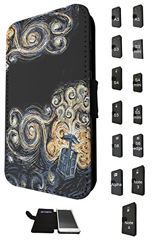 452 - doctor who tardis van gogh canvas Design Fashion Trend Credit Card Holder Purse Wallet Book Style Tpu Leather Flip Pouch Case Samsung Galaxy S5 i9600 (Doctor Who Samsung S5 Mini Case compare prices)