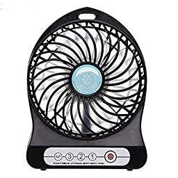 Momoday® 4-inch Vanes 3 Speeds Electric Portable Mini fan Rechargeable Desktop Fan Battery/ USB Powered Laptop PC Mute Cooler Cooling Operated Cool Cooler Fan with 18650 Rechargeable Battery and USB Charge Cable (Black)