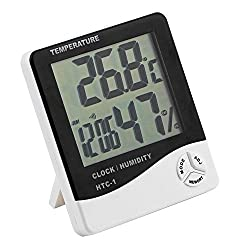 Happy Hours® LCD Display Stand & Wall Mount Digital Temperature and Humidity Meter Hygrometer with Alarm Clock Function