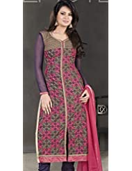 Designer Dress Material Gold Pink Navy Blue Semi Stiched Straight Cut Salwar Kameez Suit.