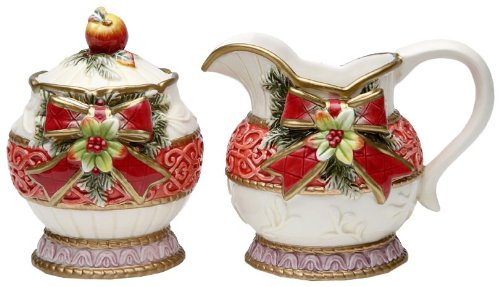 Cosmos Victorian Harvest Sugar and Creamer Set, Sugar Dish Height of 4.37-Inch, Creamer Dish Height of 2-3/4-Inch