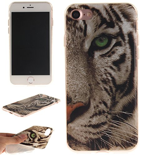 iPhone 7 Case, NOKEA Fashion Style Anti-slip Ultra Slim Thin TPU Rubber Soft Back Cover Protective Skin for iPhone 7 4.7 inch (Tiger) (Star Spin Quilt compare prices)