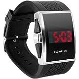 DIGIFLEX Digitale Armbanduhr für Männer mit roter LED-Anzeige - in Schwarz ein elegantes Geschenk