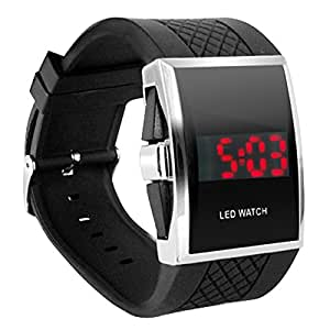 DIGIFLEX Luxury Digital Mens Red LED Light Sport Wrist Watch Gift Style - Black