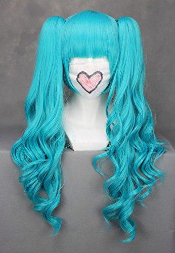 Parrucca blu con piumini ricce 65 cm, cosplay Vocaloid miku