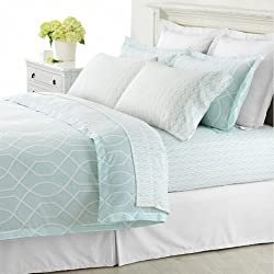 Martha Stewart Garden Trellis King 3 Piece Duvet Cover Set Aqua