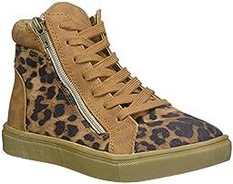 Steve Madden Jcafe Hightop Sneaker (Little Kid), Leopard, 3 M US Little Kid