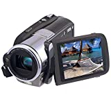 Marvie Camcorders HDV-308 Portable HD Max 20.0 Megapixels Digital Video Camcorder Strong Strobe Flash Camera DV 3.0 Inches Touch Screen 16X Digital Zoom Dual Memory Card Slots MP3 Playback