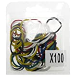Scheda dettagliata Enveloppebulle-Lotto di 100 elastici per capelli, in gomma, attaccare accessori per capelli