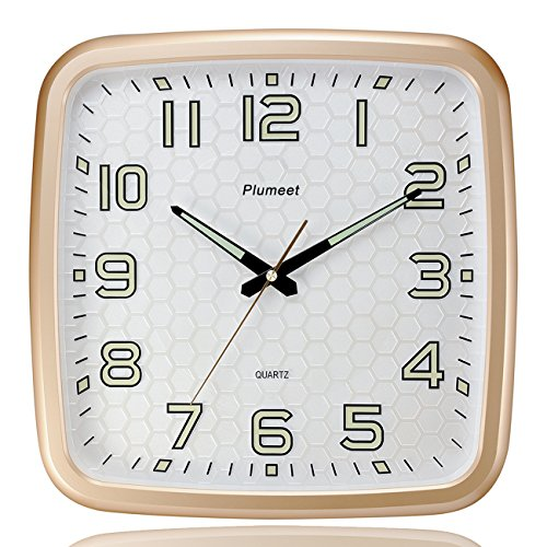 Plumeet 14-Inch Wall Clock with Classics and Specified Design of Silent Non-Ticking Night Lights for Indoor Kitchen Large Number Battery Operated (Gold) 1