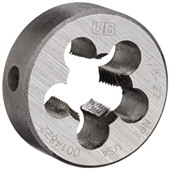 "Union Butterfield 2010(NPT) Carbon Steel Round Threading Die, Uncoated (Bright) Finish, 1/8""-27 Thread Size"