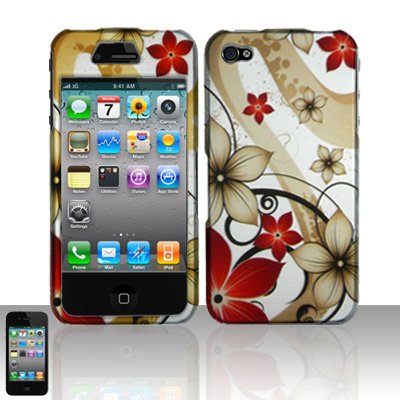 For Apple iPod Touch 4th Gen 4G Red Flower Design Hard Case Cover