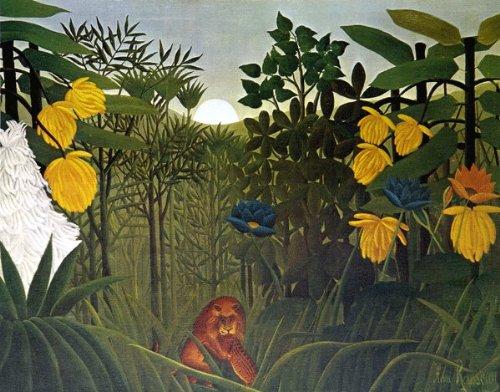 ルソー「ライオンの食事」 プリハード 世界の名画 目安サイズ8号 額縁J