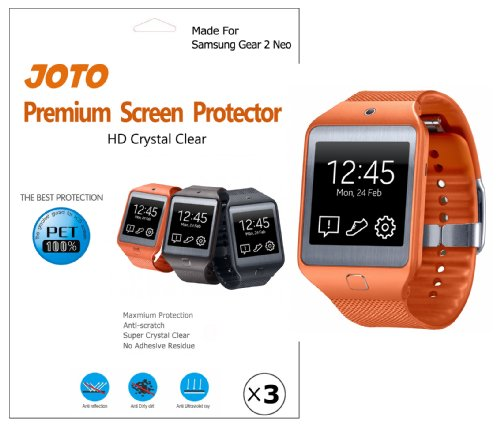 JOTO - Samsung Gear 2 Neo Screen Protector Film Ultra Crystal Clear (Invisible) with Lifetime Replacement Warranty, only for Gear 2 Neo smart watch 2014 (3 Pack)