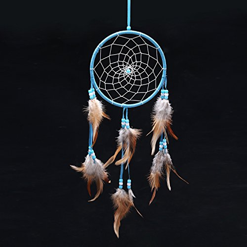 Blue Dream Catcher Traditonal Native American Dreamcatcher with Feathers 6.1