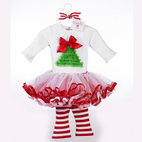 Select Size: Baby Girl Christmas Holiday Tutu Dress Set by Mud Pie (12-18 Months)