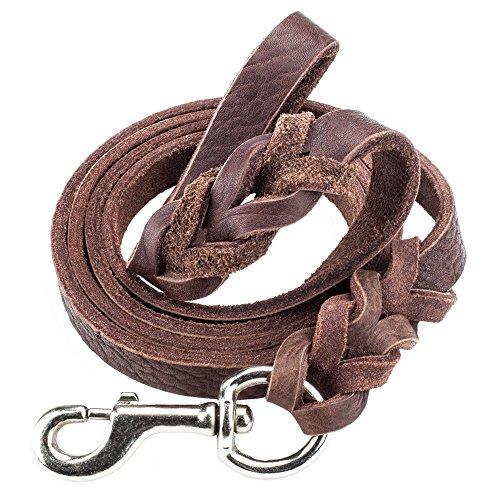 Weebo Pets 6-foot Braided Soft Latigo Leather Dog Leash