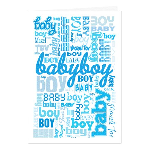 Jewish New Baby Boy Mazel Tov Greeting Card And Envelope front-47795