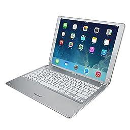 12.9 inch ipad pro keyboard, Shinymod 130 Degree Rotation Backlit Wireless Bluetooth Tablet Bluetooth Keyboard Ultra-Slim Stand Holder for Apple ipad pro (Silver)