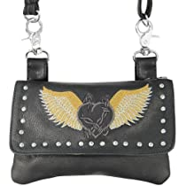 Xelement Motorcycle Womens Barbwire Winged Heart Leather Belt Bag with Chrome S - One Size