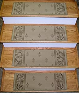 162836 rug depot premium carpet stair treads 26 x 9 stair treads beige background set - Rugs and runners to match ...