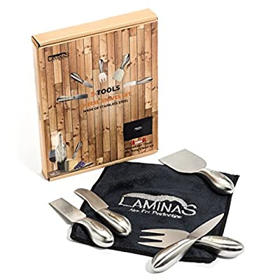 Cheese Knives Set 5-Piece Stainless Steel tools with Microfiber Cleaning Cloth in a Housewarming Gift Box, Exquisitely Designed Cheese Knife to Hold, Cut, Shave, Slice, Spread, Serve All Types Of Cheeses