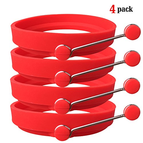 Ozera 4 Pack Nonstick Silicone Egg Ring Pancake Mold, Round Egg Rings Mold, red (Poached Egg Shape compare prices)