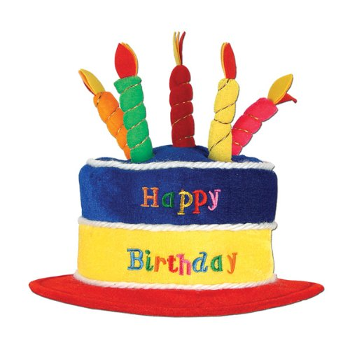 Plush Happy Birthday Cake Hat Party Accessory (1 count) (1/Pkg)