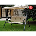 Kozyard Brenda 3 Person Outdoor Patio Swing with Strong Weather Resistant Powder Coated Steel Frame and Textilence Seats(Beige)