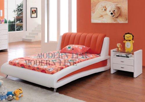 Cheap Sleek Modern Full Size Kids Bedroom Set in White and Orange (Samy-Full-Org)