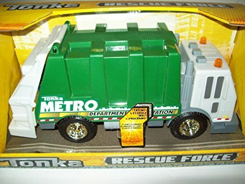 new-tonka-rescue-force-garbage-truck-w-lights-sound-green-sanitation-dept