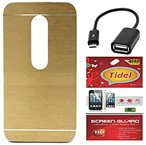 Tidel Golden Durable Aluminium Brushed Metallic Back Cover For Motorola Moto G Turbo Edition With Tidel Screen Guard & Micro OTG Cable