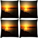 Snoogg Sun Rising Pack Of 4 Digitally Printed Cushion Cover Pillows 14 X 14 Inch
