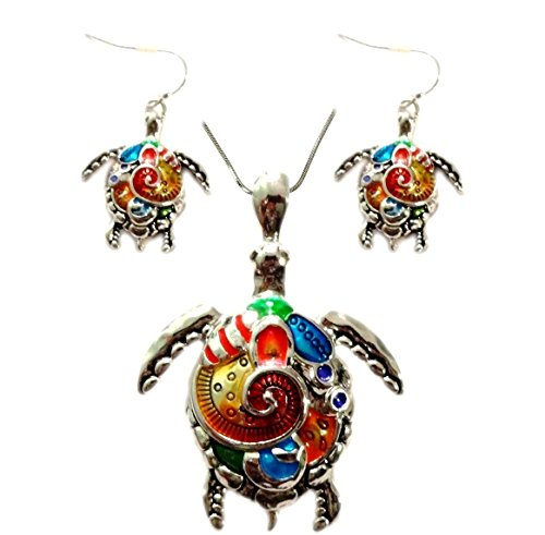 DianaL-Boutique-Beautiful-Sea-Turtle-Tortoise-Pendant-and-Earrings-Set-Hand-Painted-with-24-Chain