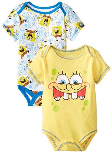 Nickelodeon Baby Baby-Boys Newborn Spongebob 2 Pack Bodysuit Set, Yellow, 3-6 Months front-991721