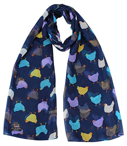 Chicken Print Ladies Fashion Scarf with Daisy Pendant Gift (Navy)
