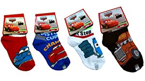 Disney Pixar Cars Boys Socks 4 Different Pairs Size 6-8