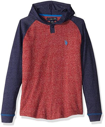 U.S. Polo Assn. Boys' Color Blocked Hooded Henley Pullover