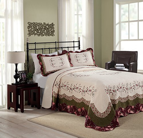 Best Price! Modern Heirloom Collection Brooke Cotton Filled Bedspread, King, 120 by 118-Inch