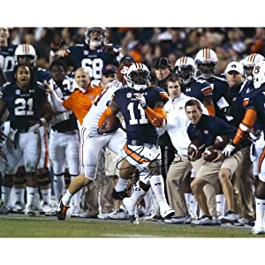 Buy Chris Davis Auburn Tigers Autographed 16'' x 20'' Missed Tackle Photograph with Kick 6 Inscription - Memories - Mounted... by Sports Memorabilia
