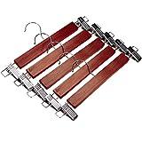 J.S. Hanger®Walnut Wood Skirt Hangers, Wooden Pants Hangers with Chrome Hardware, Walnut hardwood Hanger, 5-Pack
