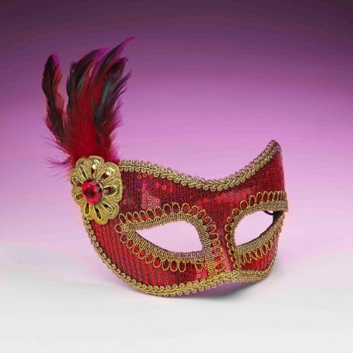 Sequin Fashion Mask - Red