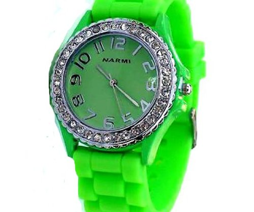 Ladies Wrist Watch with Matching Silicone Ceramic Style Band/strap Surrounded with Clear Cz Rhinestones Similar to Sandra Bullock in Blind Side ~ Lime Green